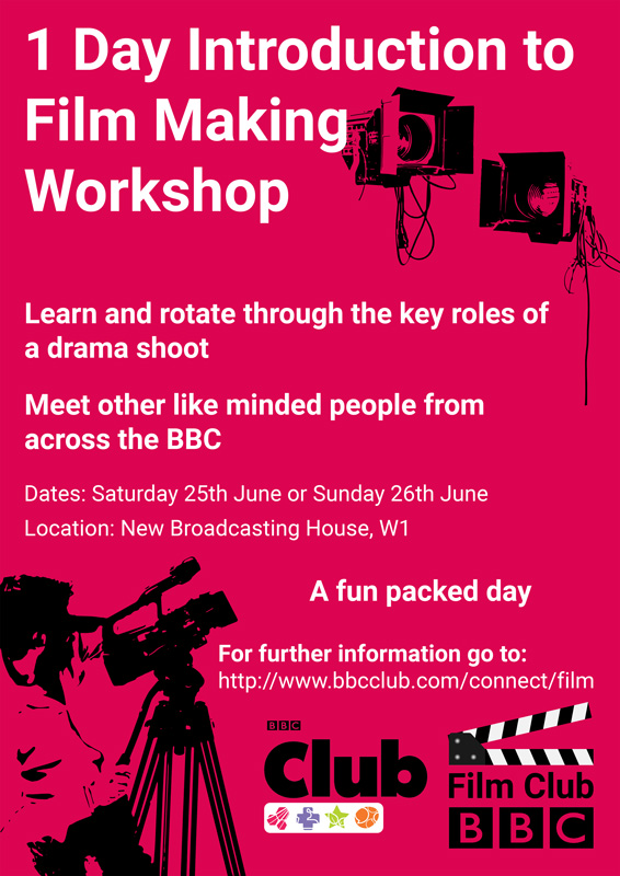 Introduction to film making workshop poster 2016 for the BBC Film Club