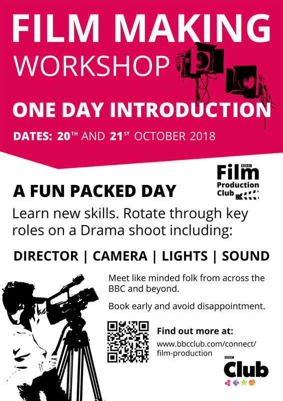Introduction to Film Making Workshop Poster 2018 for the BBC Film Production Club
