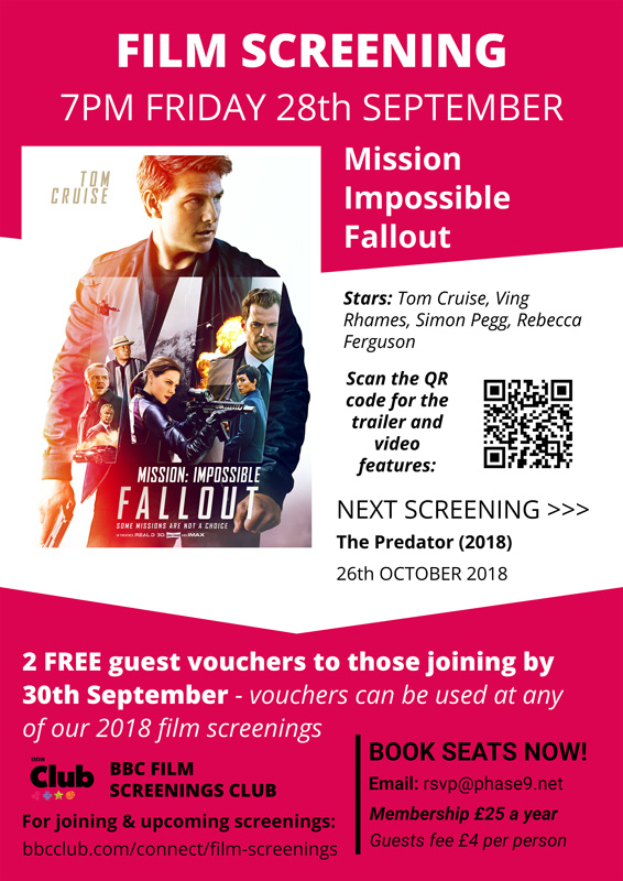 Mission Impossible Fallout screening poster for the BBC Film Screenings Club