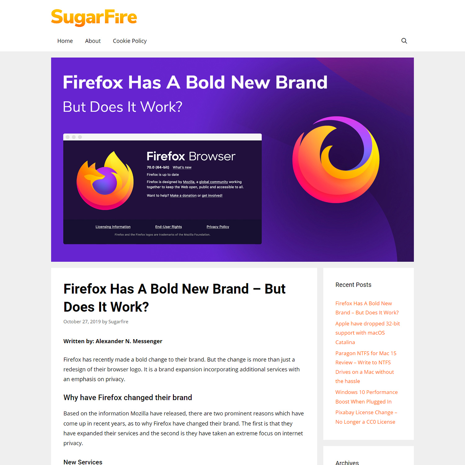 Image of Firefox has a Bold New Brand article on the SugarFire.net website